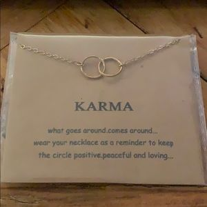 """Karma"" gold two circle necklace"